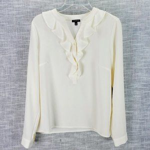 Talbots Ivory Ruffle Front Popover Blouse Size 8